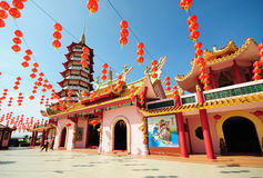 Chinese pagoda and lanterns during chinese new year Royalty Free Stock Photo