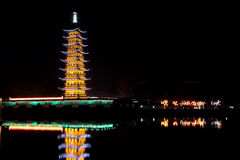 Chinese pagoda light show Royalty Free Stock Photo