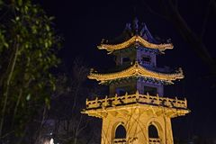 Chinese pagoda in Nanjing at night in the trees stock images