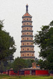 Chinese pagoda oil painting stylized photo Stock Photography