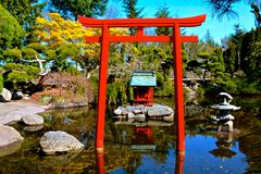 Chinese Pagoda. At Point Defiance Park in Tacoma, WA stock images