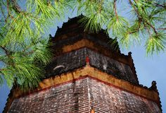 Chinese Pagoda after rain. Chinese pagoda with cedar branches (Vietnam Stock Photos