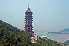 Chinese pagoda and sea Stock Photos
