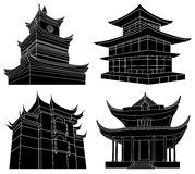 Chinese Pagoda Silhouettes Stock Images