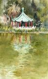 Chinese pagoda of Strawberry Hill on the shore of Stow Lake in the Golden Gate Park in San Francisco royalty free illustration
