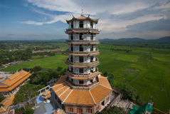 Chinese pagoda in temple . Chinese pagoda in temple at Middle of Thailand Stock Photo