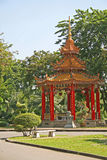 Chinese Pagoda in Tropical Park Royalty Free Stock Photography
