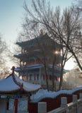 Chinese pagoda in Urumqi park. URUMQI, CHINA, DECEMBER 31, 2015: Chinese pagoda in Urumqi park Royalty Free Stock Image