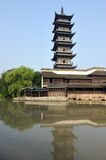 Chinese pagoda in Wuzhen town Royalty Free Stock Photography