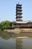 Chinese pagoda in Wuzhen town. Zhejiang province, China Royalty Free Stock Photography