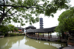 Chinese pagoda in Wuzhen town Royalty Free Stock Photo
