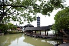 Chinese pagoda in Wuzhen town. Zhejiang province, China Royalty Free Stock Photo