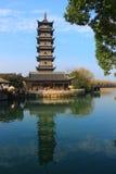 Chinese pagoda in Wuzhen town. Zhejiang province, China Royalty Free Stock Images