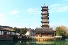 Chinese pagoda in Wuzhen town. Zhejiang province, China Royalty Free Stock Photos