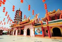 Chinese pagode en lantaarns tijdens Chinees nieuw jaar Royalty-vrije Stock Foto