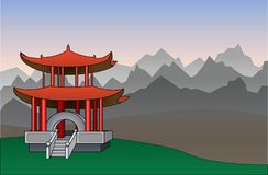 Chinese pagode vectorillustratie als achtergrond Stock Foto's