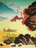 Chinese painting. It is my own painting, in tradition of old Chinese art, watercolours Stock Photography