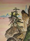 Chinese painting. This is my own painting, watercoloured painting in traditions of old chinese art. Sea, rocks, pine-trees and house on the rock Royalty Free Stock Photo