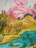 Chinese painting. Photocopy of my own picture, watercoloured painting. In traditions of Chinese painting. Typical chinese landscape: hill, houses around, trees Stock Photos