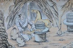 Chinese painting of ancient chinese farmer Stock Photo