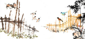 Chinese painting of bamboo with animal Royalty Free Stock Image