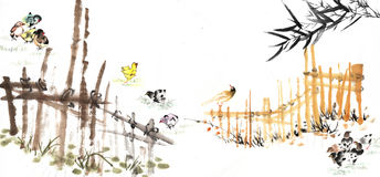 Chinese painting of the bamboo Royalty Free Stock Image
