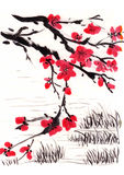 Chinese painting blossom. River side, on paper Royalty Free Stock Photos