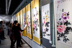 Chinese painting and calligraphy exhibition. ChenTianshu painting and calligraphy Exhibition  held in Liuzhou,Guangxi, China,October 2011.The picture shows Royalty Free Stock Photo