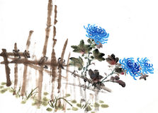 Chinese painting of chrysanthemum Royalty Free Stock Photos