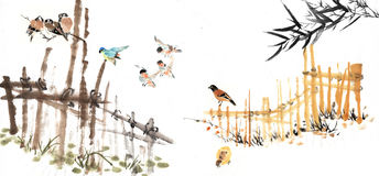 Chinese painting of the countryside Royalty Free Stock Photography