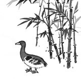 Oriental painting - duck in bamboo forest Royalty Free Stock Images
