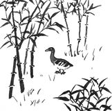 Chinese painting - duck in bamboo forest Royalty Free Stock Image