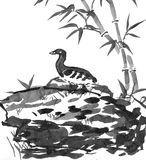 Chinese painting - duck in bamboo forest Stock Photo