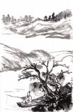 Chinese painting fishing. Draw from shitao,on paper Royalty Free Stock Image