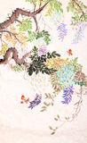 Chinese painting of flowers and butterfly Stock Photo