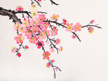 Chinese painting of flowers, plum blossom Royalty Free Stock Image