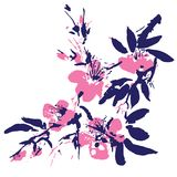 Chinese painting of flowers Royalty Free Stock Images