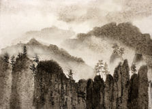 Chinese painting gloomy cliffs and mist Royalty Free Stock Photography
