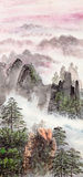 Chinese painting of high mountain Stock Photo