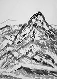 Chinese painting of high mountain landscape Royalty Free Stock Image