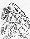 Chinese painting of high mountain landscape Royalty Free Stock Photography