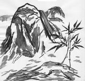 Chinese painting of high mountain landscape Royalty Free Stock Photos