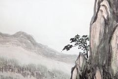 Chinese painting of high mountain vector illustration