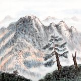 Chinese painting of high mountain Royalty Free Stock Photos