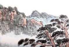 Chinese painting of high mountain Stock Photos