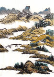 Chinese painting landscape bridge. On paper Stock Photography