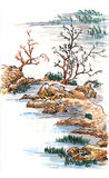 Chinese painting landscape Stock Images