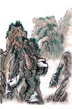 Chinese painting landscape  mountains. On paper Royalty Free Stock Image
