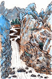 Chinese painting landscape. On paper Stock Photography