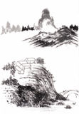 Chinese painting landscape. On paper Stock Photos